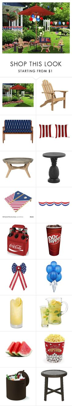 """""""Red White and Blue outdoor decor"""" by deborah-518 ❤ liked on Polyvore featuring interior, interiors, interior design, home, home decor, interior decorating, Oxford Garden, Improvements, Safavieh and Tommy Bahama"""