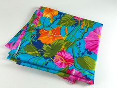 Vintage Fabric Blue Green Orange Pink Turquoise Flower Tropical Hawaii Hawaiian Retro Floral Fabric Quilting Sewing Scrapbooking Crafts (16.00 USD) by LivingAVntgLife