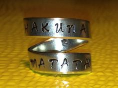 Hakuna Matata - Spiral Ring, Pure Aluminum,  Skinny Band Ring, Lion King Inspired, Hand Stamped on Etsy, $10.00