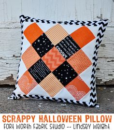 Scrappy Halloween Pillow Tutorial. Fort Worth Fabric Studio -- Lindsey Weight