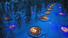 Kakslauttanen Arctic Resort is a family hotel in Finnish Lapland, 250 kilometres north of the Arctic Circle, in the resort town of Saariselka. Dream Vacations, Vacation Spots, Vacation Deals, Best Winter Vacations, Igloo Village, Village Hotel, West Village, Teton Village, Cruises