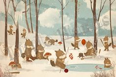 little hands: Little Hands Wallpaper Mural - Playing in the Snow