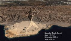 Aerial view of the Nuweiba Peninsula, Egypt, location of the crossing of the Red Sea during the Exodus.