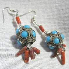 """Italian Vintage Glass Red Coral-Retro Turquoise & Silver Tone Beads Dangle Silver Plated Earrings 3"""" Tribal Southwestern Hippy OOAK SRAJD by Multibeadia on Etsy"""