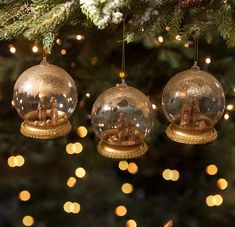 Bring the Nativity to your Christmas tree with these golden Nativity Globe Ornaments. Set of 3 - assorted ornaments. Shop gold Nativity Globe Ornaments now! Days Till Christmas, Christmas Deer, Little Christmas, Christmas Bulbs, Christmas Crafts, Lowes Christmas Decorations, Welcome Holidays, Seasonal Decor, Holiday Decor