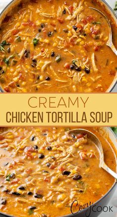 Creamy Chicken Tortilla Soup, Best Tortilla Soup Recipe, Chicken Fajita Soup, Chicken Cream Soup, Easy Tortilla Soup, Chili Soup Recipe, Chicken Quinoa Soup, Mexican Tortilla Soup, Creamy Chicken Stew