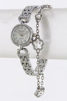 TRENDY FASHION JEWELRY FLORAL CHARM WATCH BY FASHION DESTINATION  Silver * Want additional info? Click on the image.