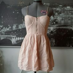 Pwdr Pink Bodice Crochet Embroidered Skater Dress Powder Pink Lacy Skater Dress with Under Bust Wire, Front & Side zip | Size: S | Brand: Forever21 | RP: $24.80 | Worn only a handful of times Forever 21 Dresses