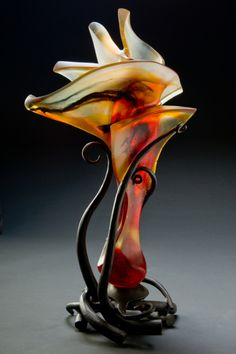 "Brian Russell - Ikebana cast crystal/forged steel 24""h x 13""w x 10""d $9,500"