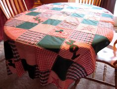 Christmas Holiday Tablecloth Quilted - Fabric:Ticking Stripe+Check+Embroidery