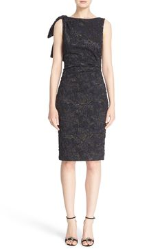 Carolina Herrera Bow Detail Embroidered Cocktail Dress available at #Nordstrom