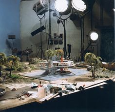 SuperM - the setup for the stock shot of the Thunderbird 3 roundhouse launch Scene Image, Scene Photo, Radios, Bond, Sci Fi Models, Film Studio, Movie Props, Great Films, Fotografia