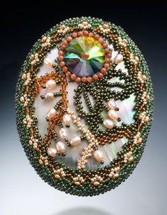 Beadwoven Mother of Pearl Brooch . Swarovski Crystal Rivoli Stone Moonlight . Statement Brooch - Mystic Flower by enchantedbeads on Etsy via Etsy