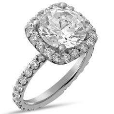 Round Cut 9mm Charles & Colvard Created Moissanite & Diamonds Engagement Ring R135-9MM2
