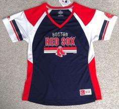 Womens(XL) BOSTON RED SOX JERSEY T-SHIRT/TOP White/Blue Ladies RHINESTONE BLING! #Majestic #BostonRedSox