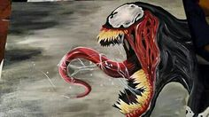Painting of Venom from Spiderman I did for my oldest daughter's boyfriend for his birthday.
