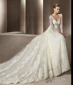 Свадебное платье с рукавами кружево