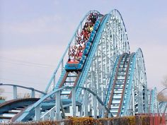 The Blue Streak Cedar Point, Ohio. The Blue Streak was my first roller coaster ride! I felt like I was lifting out of the seats when we started descending! Cedar Point Ohio, Marblehead Ohio, Best Roller Coasters, Fair Rides, The Buckeye State, Amusement Park Rides, Carnival Rides, Blue Streaks, Water Slides