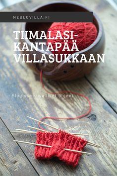 Tiimalasikantapää ja mikä siinä voi mennä pieleen - kuvallinen ohje Knitting Stitches, Knitting Socks, Hand Knitting, Crochet Socks, Knit Crochet, Patterned Socks, Yarn Crafts, Mittens, Crochet Necklace