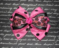 Awesome Little Rockin Rose Bow with Pink by MissSweetCheekz, $6.00  #bow #hairclip #hair #accessory #pink #pinup #rockabilly #retro #hairbow
