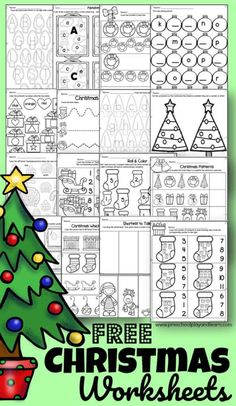 Free Printable Christmas Worksheets, Christmas Worksheets Kindergarten, Preschool Christmas Activities, Preschool Worksheets, Kindergarten Age, Counting Worksheet, Toddler Preschool, Kindergarten Activities, Shapes Worksheets