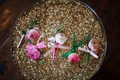 Patrick's Day Shoot by Katie Cassidy Photography + Event Styling by Shawna Marie Pink Groomsmen, Groomsmen Boutonniere, Ranunculus Boutonniere, Boutonnieres, Pink And Gold, Pink And Green, Flowers For Mom, Glitter Flowers, Cupcakes