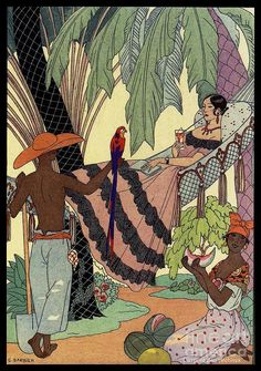 Spanish Lady In Hammock with Parrot - George Barbier