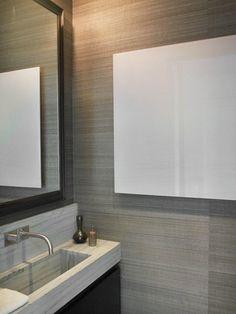custom narrow stone slab sink - Sara Story | Projects | Manhattan Triplex Grey Bathroom Paint, Dark Doors, Gray Painted Walls, Stone Slab, Bath Design, Beautiful Bathrooms, Abstract Art, Minimalist, Interior Design