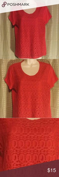 """Chico's Red Crochet Overlay Top 1 S Great condition. Short sleeve. Crochet Overlay. Crochet is 100% polyester and top is 60% cotton 40% modal. 38"""" bust 26% length. Posh4. Chico's Tops Blouses"""