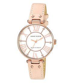 Anne Klein Light Pink Leather Strap Watch #Dillards