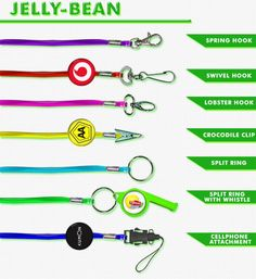 Jelly-Bean Lanyards. Best Branding - supplier of lanyards. Clip Swivel Hook Spring Hook 1 Lobster Hook Cell Phone Attachment Ring & Referee Whistle Disc - including 1 colour print Domed Sticker for Disc full colour Best Branding also supplies a wide range of lanyard pouches. Branded Lanyards, Referee, Jelly Beans, Best Brand, Pouches, Sticker, Branding, Range, Colour