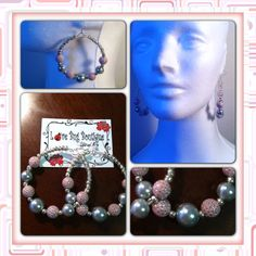 Pink & Silver dotted beads with Grey pearl hoop earrings. www.mylovebugboutique.com  #pink #grey #pearls #hoops #hoopswag #handmade #handmadeearrings #earrings #wwwmylovebugboutiquecom