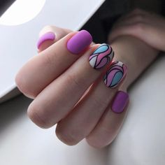 The Pink Abstract Nail Art Design. Whether you want a simple nail art design or something that goes with every outfit, this unique yet attractive abstract nail art design is inspiration. Beautiful Nail Art, Gorgeous Nails, Love Nails, Trendy Nail Art, Stylish Nails, Simple Nail Art Designs, Nail Designs, Multicolored Nails, Colorful Nail
