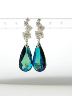 Ruffled® | See ads - Bermuda Blue Swarovski Drop Earrings- SS Posts - Fashion