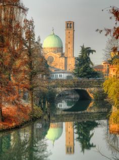Padua,Italy is so beautiful as is the reflection in the river.