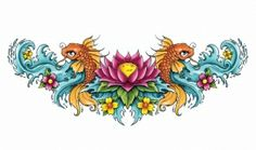 Lotus Koi Lower Back Tattoo