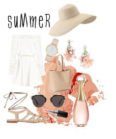"""Summer look"" by julianamarquez ❤ liked on Polyvore featuring Bobbi Brown Cosmetics, Christian Dior, MAC Cosmetics, Intermix, Old Navy, Eric Javits, BaubleBar, Kate Spade and summerhat"