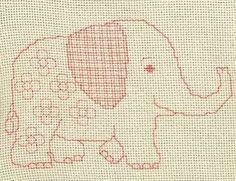 Baby Elephant - blackwork pattern by Anne Peden - A cute elephant in blackwork. Blackwork Patterns, Baby Afghans, Cute Elephant, Running Stitch, Afghan Blanket, Cross Stitch Embroidery, Stitch Patterns, Free Pattern, Kids Rugs