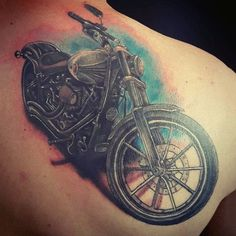 Mens Back Of Shoulder Classic Harley Davidson Motorcycle Tattoos - Fahrzeug Tattoo - Hd Tattoos, Sunset Tattoos, Flame Tattoos, Funny Tattoos, Neue Tattoos, Tattoos For Guys, Harley Tattoos, Harley Davidson Tattoos, Biker Tattoos