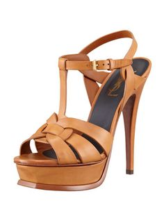 New Tribute Platform Sandal, Natural by Saint Laurent at Bergdorf Goodman. Sweater Weather, Shoes World, Pretty Shoes, Cool Boots, Ankle Strap Sandals, Shoe Collection, Everyday Fashion, Designer Shoes, Dress Shoes