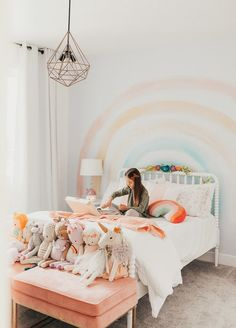 I'm so excited to share Isla's rainbow themed bedroom with you all! I'm fairly certain this room would be any little girl's dream come true! Girl Bedroom Walls, Big Girl Bedrooms, Little Girl Rooms, Bedroom Themes, Cool Girl Rooms, Bedroom Ideas, Girls Bedroom Colors, Kid Rooms, Teen Bedroom