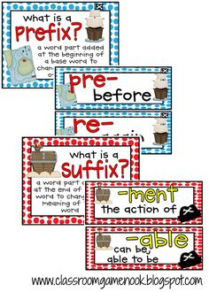 Word Work activities: FREE Prefix and Suffix Posters with a pirate theme 2nd Grade Ela, 4th Grade Reading, Second Grade, Grade 2, Fourth Grade, Teaching Language Arts, Speech And Language, Teaching Reading, Teaching Ideas