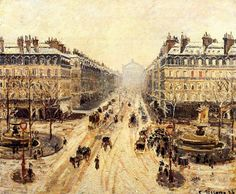 Авеню Оперы - впечатление от снега (1898). Камиль Писсарро
