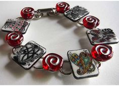 Heart Bracelet, Zentangle art unique design- Hand drawn hearts on each tile with red glass beads