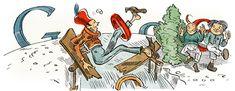 Google Doodle vom 15.04.2012  Heinrich Christian Wilhelm Busch    * 15. April 1832 in Wiedensahl;   † 09. Januar 1908 in Mechtshausen   war einer der einflussreichsten humoristischen Dichter und Zeichner Deutschlands.