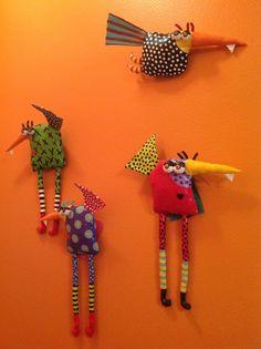 Soft Sculpture birds by Jodie Flowers.