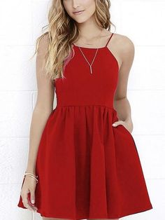 Ladies High waitst Spaghetti Strap Backless Mini Skater Dress with Pocket - Source by jaquelineseis - Hoco Dresses, Dance Dresses, Homecoming Dresses, Cute Dresses, Evening Dresses, Casual Dresses, Fashion Dresses, Formal Dresses, Black Formal Dress Short