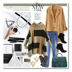 """""""Workin at the coffee place kind of outfit!"""" by anja-jovanovich ❤ liked on Polyvore featuring WithChic, Burberry, Valentino, Amber Sceats, trending, colorblocksweater, DusterCoat and beautifulhalo"""
