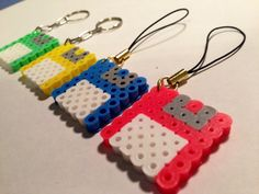 Floppy Disc magnets, keychains and charms made from perler beads
