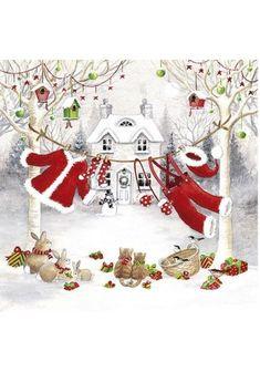 4 X Solo Papel Servilletas Navidad Invierno Ciervo Para Decoupage Y Manualidades 82